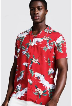 Mens Red Oriental Print Short Sleeve Revere Shirt