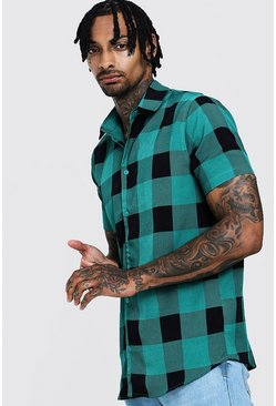 Mens Green Check Print Short Sleeve Lightweight Shirt