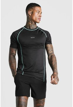 Mens Aqua MAN Active Muscle Fit Tee With Mesh Detailing