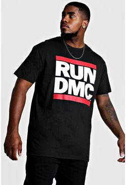 Mens Black Big and Tall Run DMC Licence T-Shirt