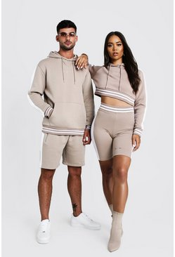 Womens Taupe Hers Crop Hoodie & Contrast Rib Cycling Short