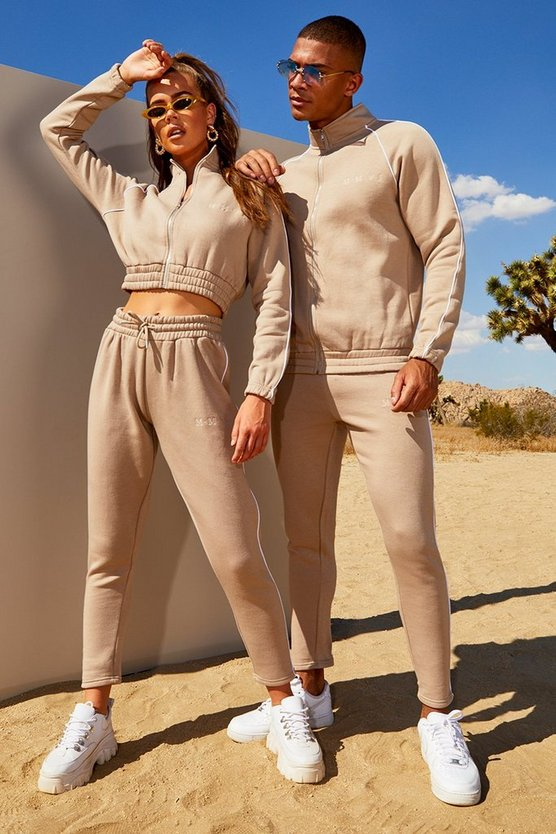 Mens Taupe His Funnel Neck Tracksuit With Contrast Piping