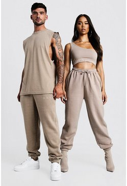 Mens Taupe His Washed Drop Armhole Tank & Jogger Set