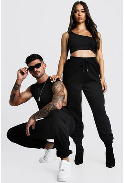 Mens Black His Washed Drop Armhole Tank & Jogger Set