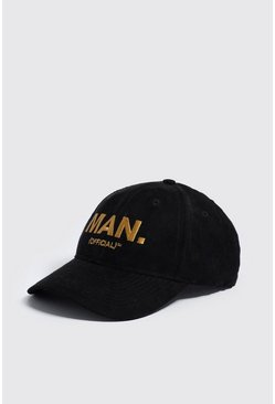 Mens Black Gold Embroidery MAN Official Cap