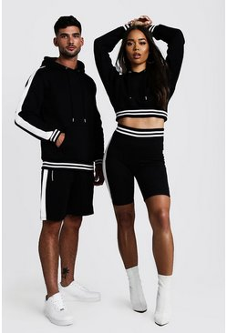 Mens Black His Panelled Contrast Rib Hooded Short Tracksuit