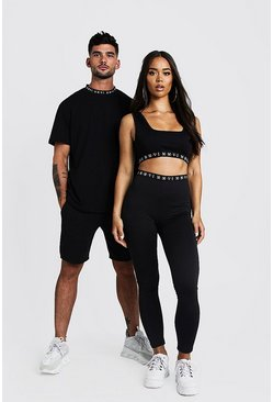 Womens Black Hers Scoop Neck Crop Top & Legging Set