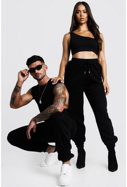 Womens Black Hers One Shoulder Crop Top & Jogger Set