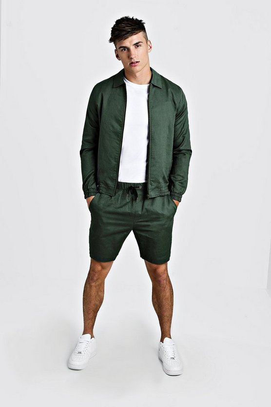 Mens Khaki Coach Jacket & Short Plain Twinset