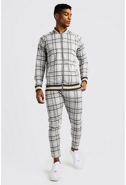 Mens Ecru Summer Check Smart Bomber Tracksuit