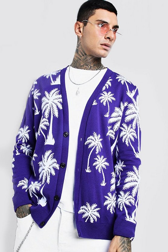 Mens Purple Slouchy All Over Palm Print Knitted Cardigan