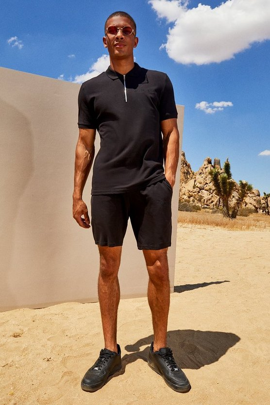 Mens Black His Pique Zip Polo & Short Set