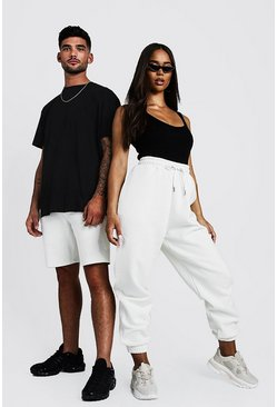 Mens White His Loose Fit Embroidered T-Shirt & Short Set