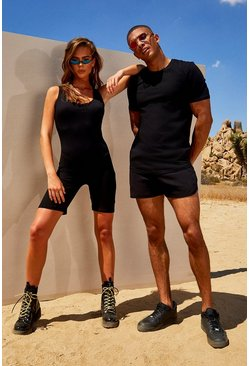 Mens Black His Muscle Fit T-Shirt & Runner Short Set