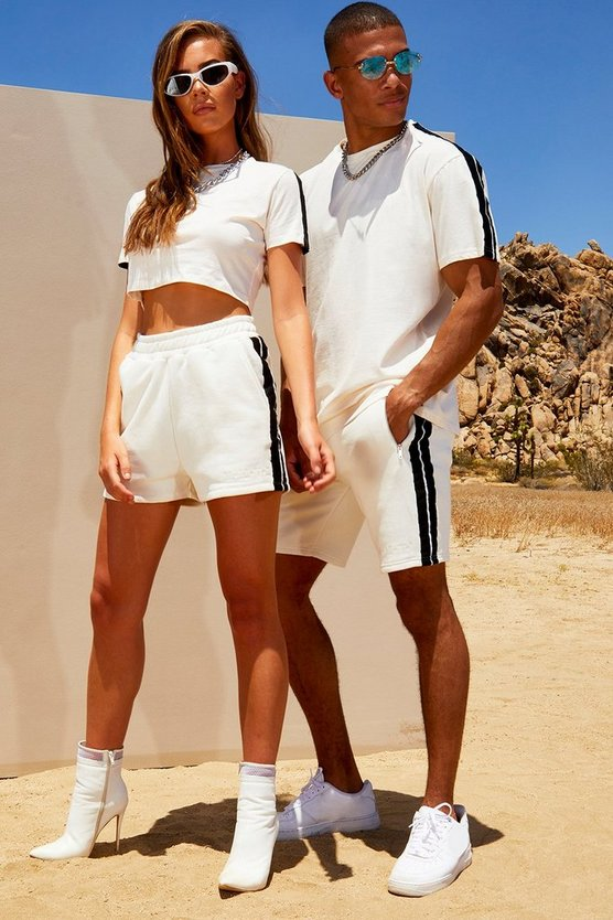 Mens White His Loose Fit Side Tape T-Shirt & Short Set