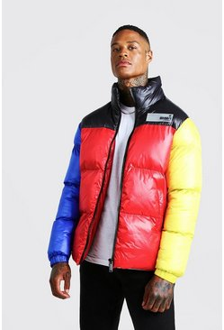 Mens Red Colour Block Hand Filled Puffer