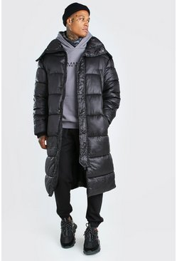 Black Longline Hand Filled Puffer In Matte Look