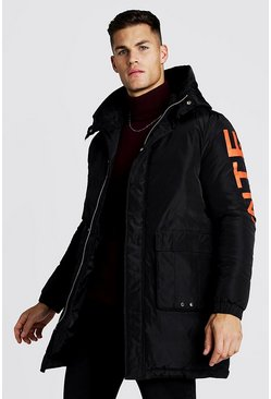 Mens Black Parka With Back Print