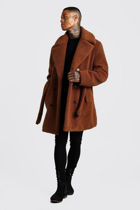 Brown Faux Fur Double Breasted Trench Coat