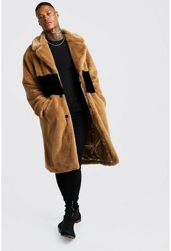 Mens Camel Luxe Faux Fur Overcoat With Stripe