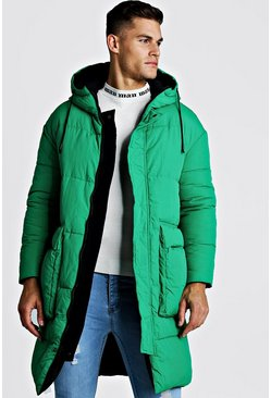 Mens Green Longline Reversible Puffer