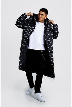 Mens Black MAN Printed Longline Puffer Coat