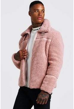 Mens Dusky pink Borg Aviator With PU Binding