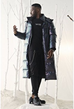 Mens Black Holographic Longline Puffer Coat