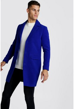 Mens Cobalt Single Breasted Wool Look Overcoat