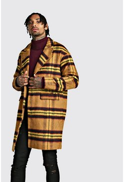 Mens Tan Wool Look Overcoat In Large Check
