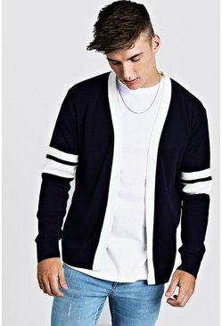 Mens Navy Varsity Edge To Edge Cardigan