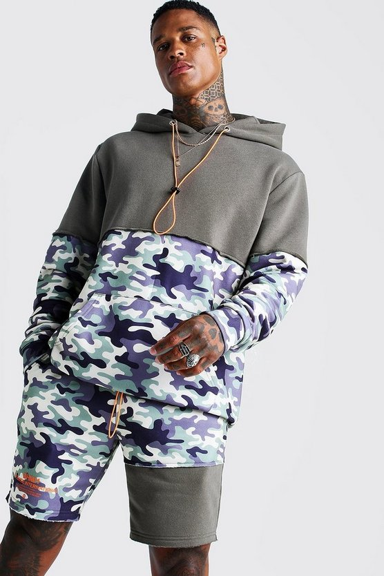 Mens Camo Hooded Short Tracksuit