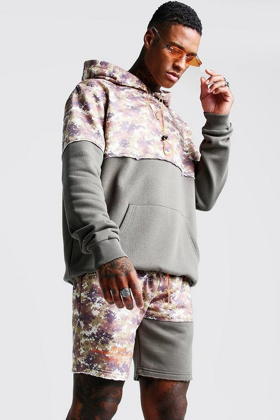 Mens Desert Camo Hooded Short Tracksuit