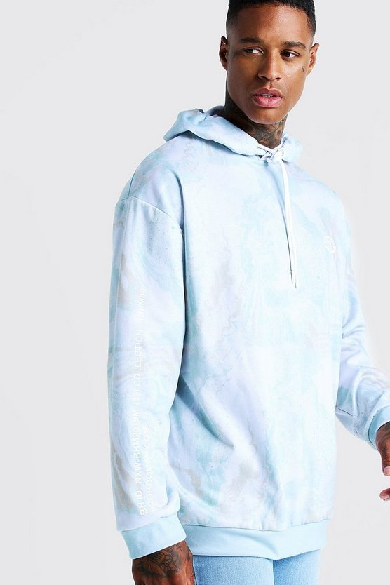 Mens Mint Marble Print Over The Head Hoodie