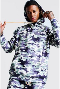 Mens Camo International Print Oversized Hoodie
