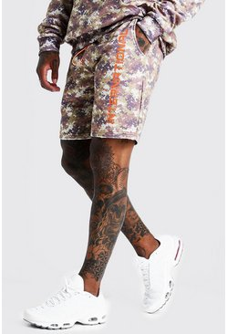 Mens Desert Camo International Print Mid Length Short