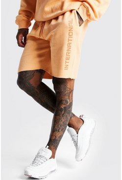 Mens Peach Mid Length International Print Short