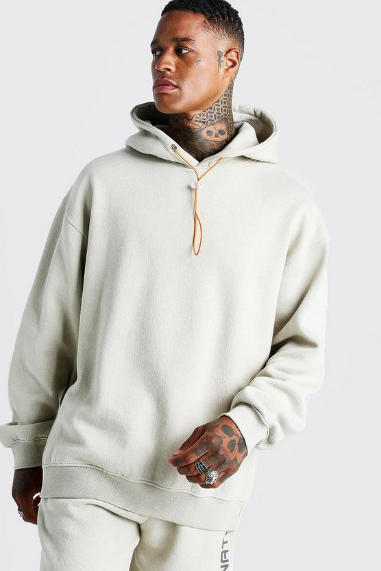 Mens Oatmeal International Oversized Print Washed Hoodie
