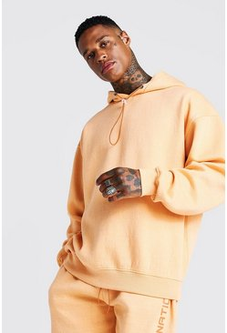 Mens Peach International Oversized Print Washed Hoodie