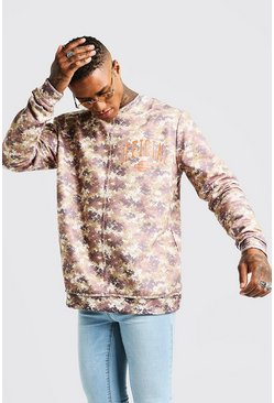 Mens Washed Camo Print Oversized Sweatshirt