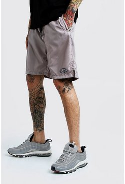 Mens Stone Placement Print Mid Shorts
