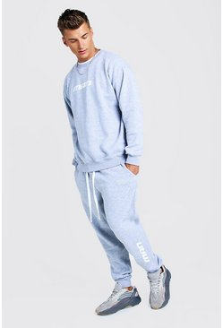 Mens Grey MAN Season 1 Loose Fit Sweater Tracksuit