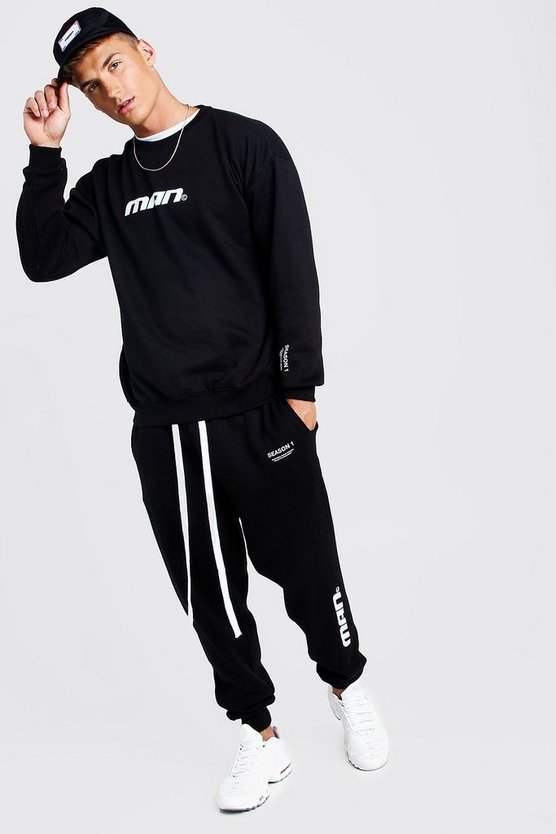 Man Season 1 Loose Fit Sweater Tracksuit by Boohoo Man