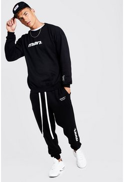 Mens Black MAN Season 1 Loose Fit Sweater Tracksuit