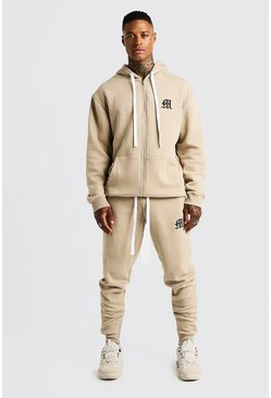 Mens Taupe MAN Aesthetics Skinny Joggers With Zips