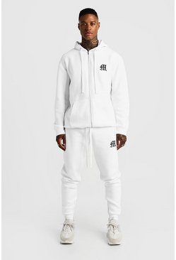 Mens White MAN Aesthetics Skinny Joggers With Zips