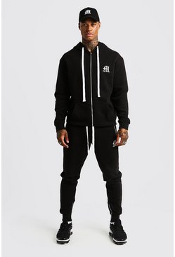 Mens Black MAN Aesthetic Skinny Joggers With Zips