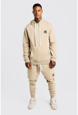 Mens Taupe MAN Aesthetics Heavy Weight Hoodie With Zips