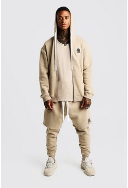 Mens Taupe MAN Aesthetics Longline Zip Through Hoodie