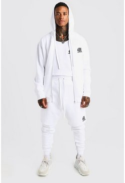 Mens White MAN Aesthetics Longline Zip Through Hoodie